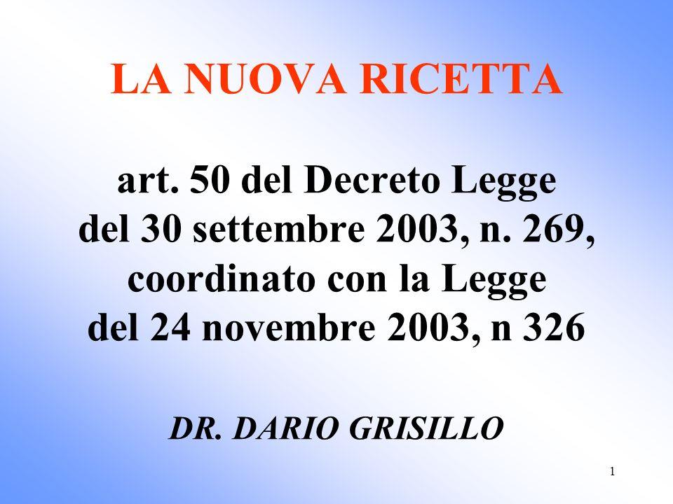 1 LA NUOVA RICETTA art. 50 del Decreto Legge del 30 settembre 2003, n. 269, coordinato con la Legge del 24 novembre 2003, n 326 DR. DARIO GRISILLO