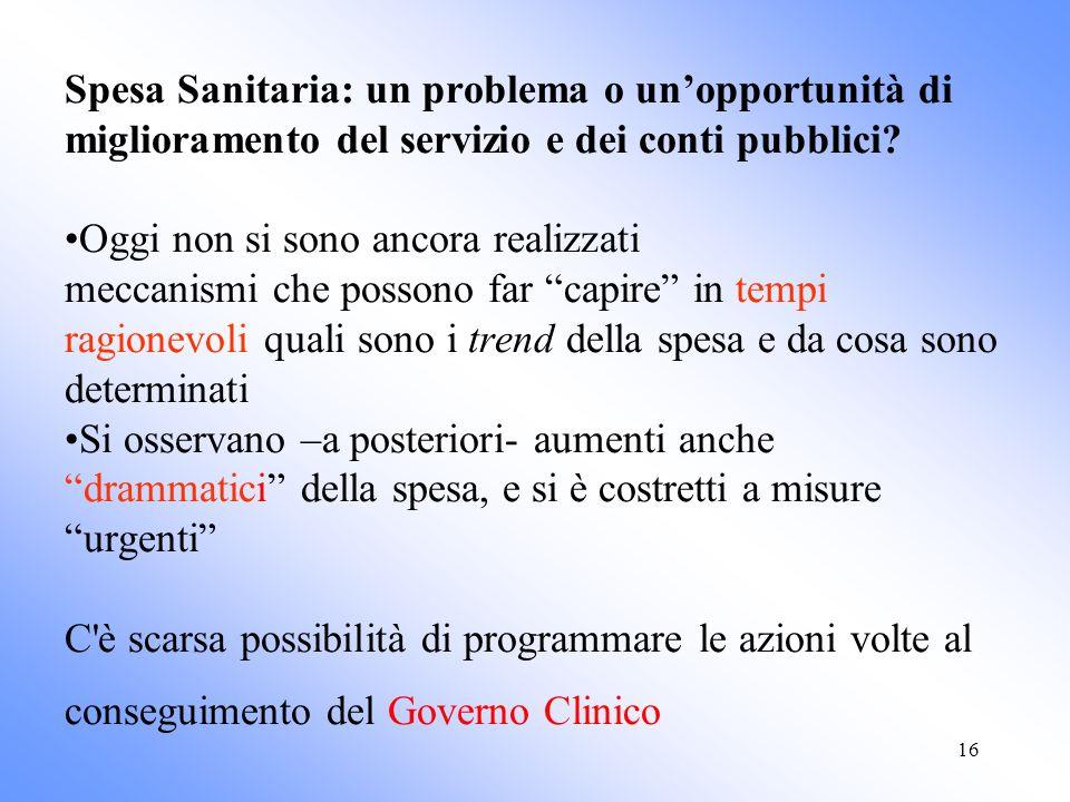 16 Spesa Sanitaria: un problema o unopportunità di miglioramento del servizio e dei conti pubblici.
