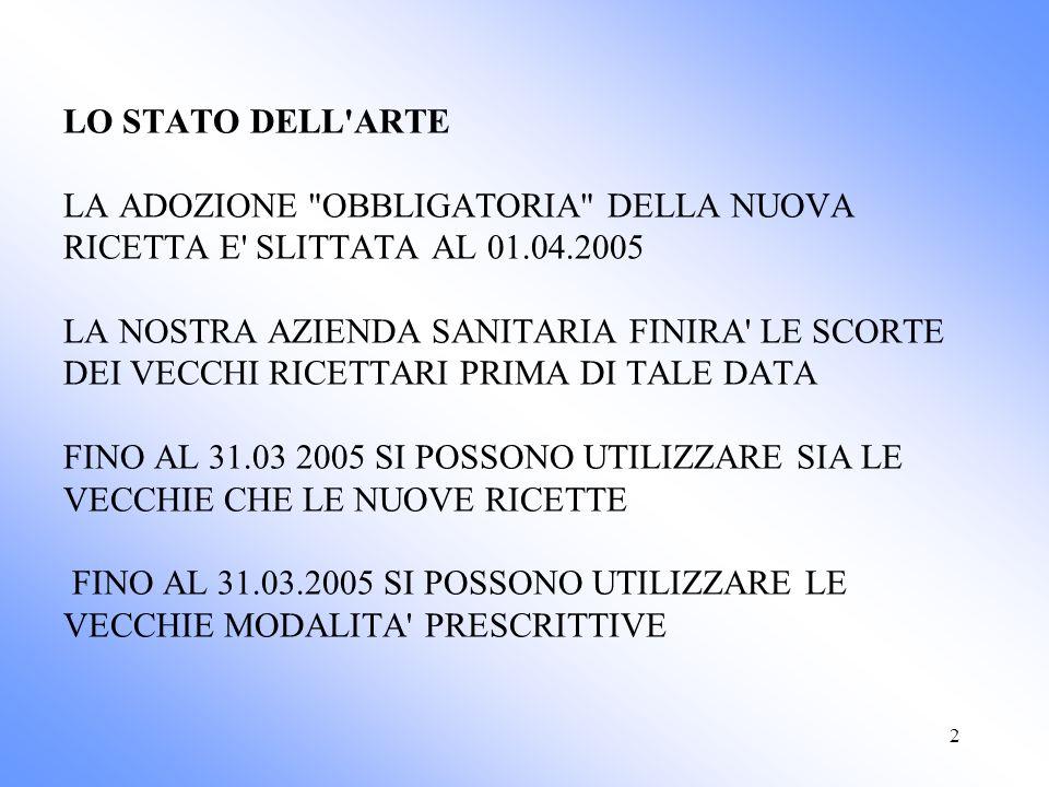 2 LO STATO DELL ARTE LA ADOZIONE OBBLIGATORIA DELLA NUOVA RICETTA E SLITTATA AL 01.04.2005 LA NOSTRA AZIENDA SANITARIA FINIRA LE SCORTE DEI VECCHI RICETTARI PRIMA DI TALE DATA FINO AL 31.03 2005 SI POSSONO UTILIZZARE SIA LE VECCHIE CHE LE NUOVE RICETTE FINO AL 31.03.2005 SI POSSONO UTILIZZARE LE VECCHIE MODALITA PRESCRITTIVE