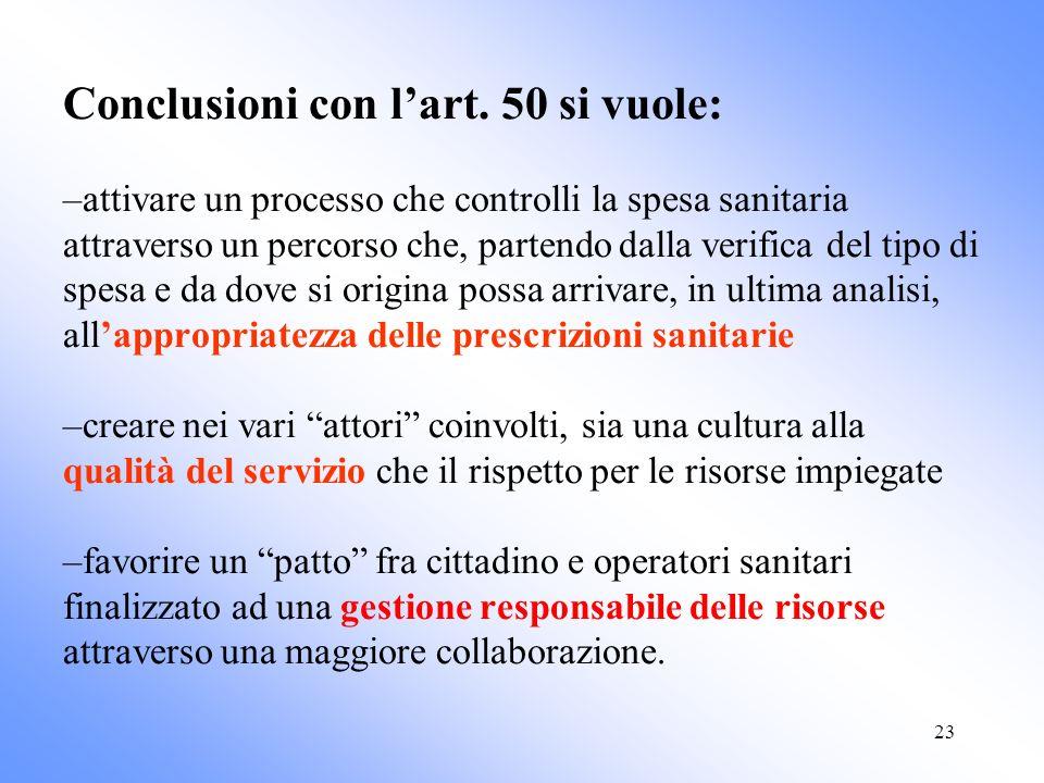 23 Conclusioni con lart. 50 si vuole: –attivare un processo che controlli la spesa sanitaria attraverso un percorso che, partendo dalla verifica del t