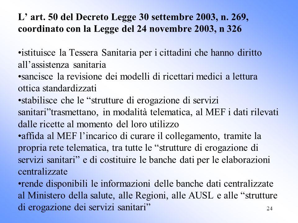 24 L art. 50 del Decreto Legge 30 settembre 2003, n. 269, coordinato con la Legge del 24 novembre 2003, n 326 istituisce la Tessera Sanitaria per i ci