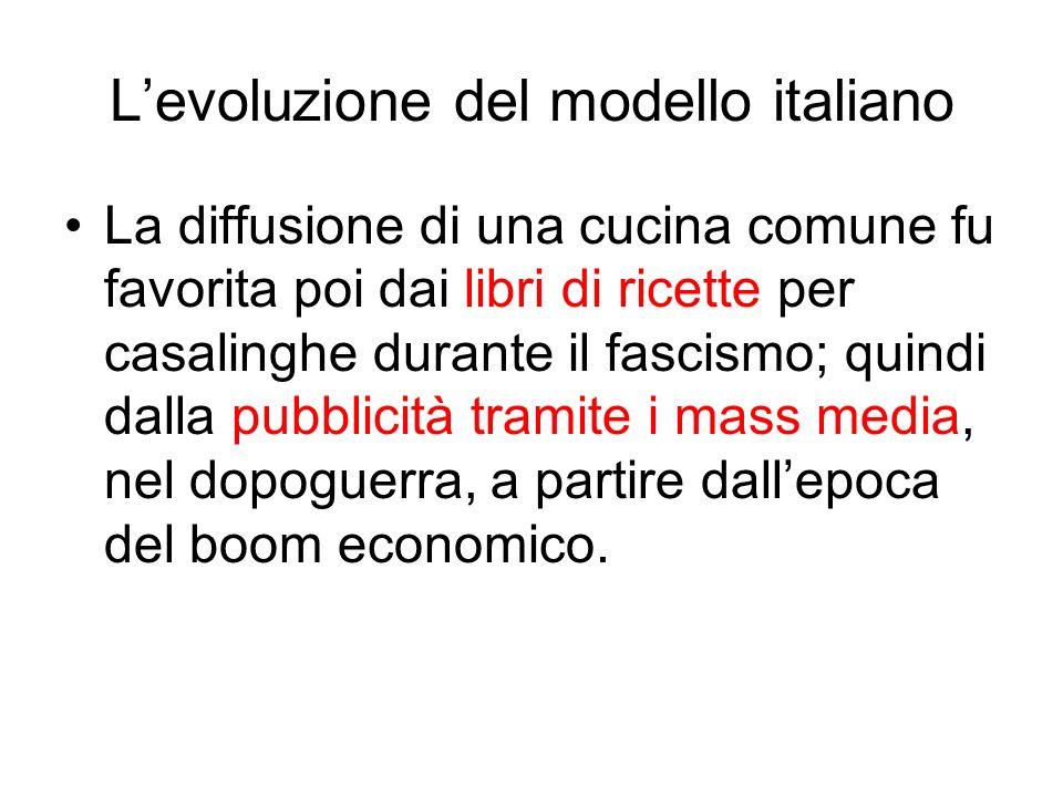 Levoluzione del modello italiano La diffusione di una cucina comune fu favorita poi dai libri di ricette per casalinghe durante il fascismo; quindi da