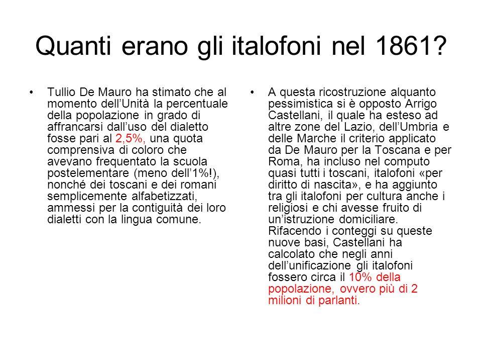 Quanti erano gli italofoni nel 1861? Tullio De Mauro ha stimato che al momento dellUnità la percentuale della popolazione in grado di affrancarsi dall