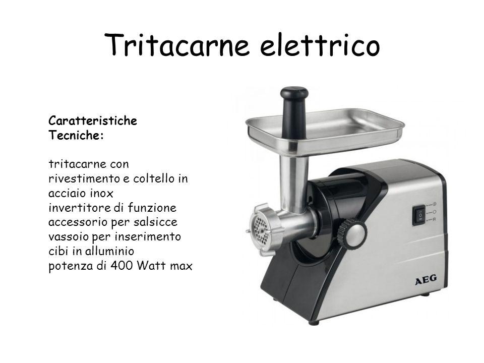 Tritacarne elettrico Caratteristiche Tecniche: tritacarne con rivestimento e coltello in acciaio inox invertitore di funzione accessorio per salsicce vassoio per inserimento cibi in alluminio potenza di 400 Watt max