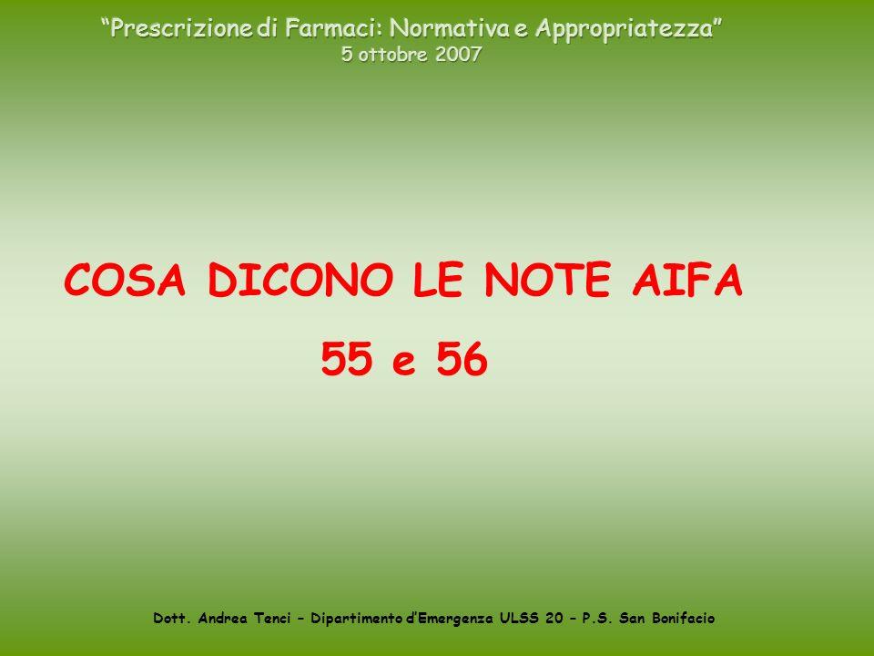 Dott. Andrea Tenci – Dipartimento dEmergenza ULSS 20 – P.S. San Bonifacio COSA DICONO LE NOTE AIFA 55 e 56