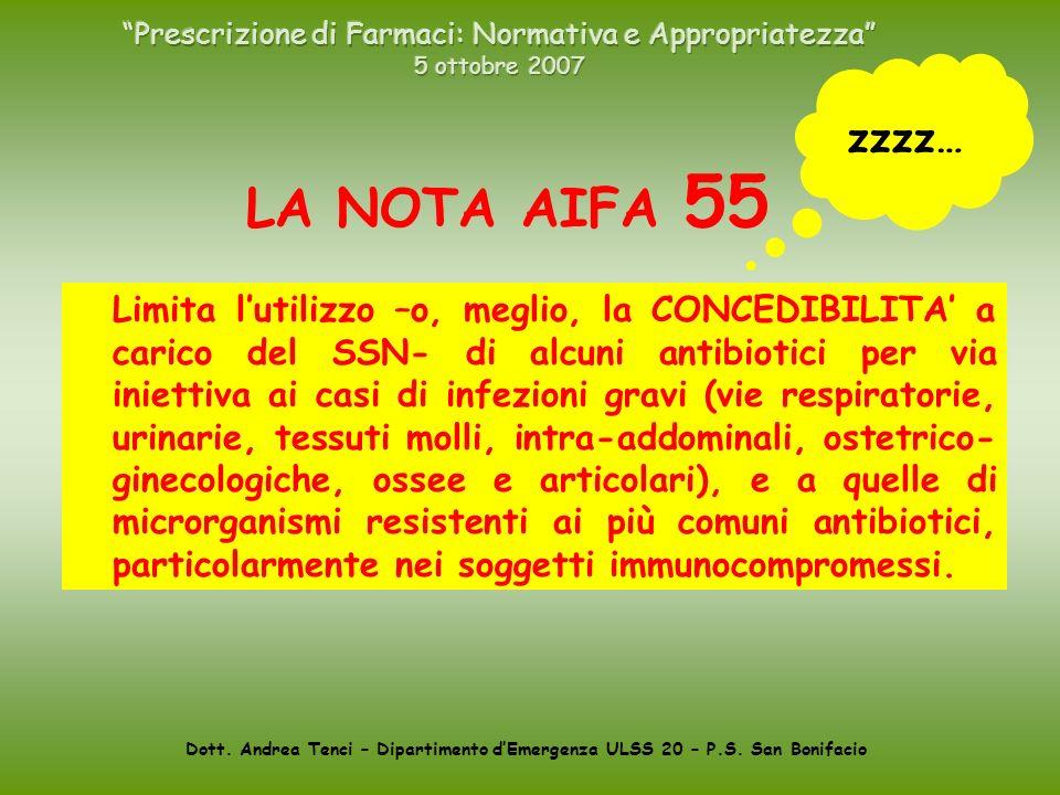 Dott. Andrea Tenci – Dipartimento dEmergenza ULSS 20 – P.S. San Bonifacio LA NOTA AIFA 55 Limita lutilizzo –o, meglio, la CONCEDIBILITA a carico del S