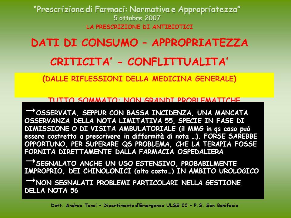 Dott. Andrea Tenci – Dipartimento dEmergenza ULSS 20 – P.S. San Bonifacio LA PRESCRIZIONE DI ANTIBIOTICI DATI DI CONSUMO – APPROPRIATEZZA CRITICITA -