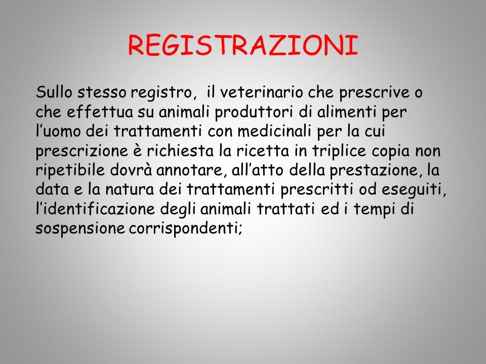 REGISTRAZIONI Sullo stesso registro, il veterinario che prescrive o che effettua su animali produttori di alimenti per luomo dei trattamenti con medic