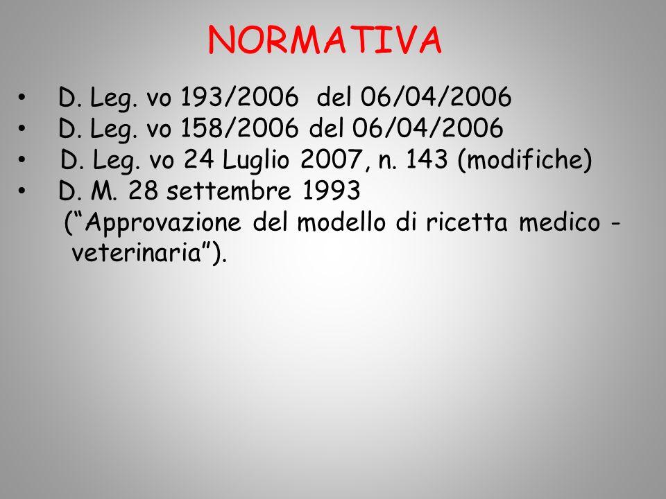 NORMATIVA D. Leg. vo 193/2006 del 06/04/2006 D. Leg. vo 158/2006 del 06/04/2006 D. Leg. vo 24 Luglio 2007, n. 143 (modifiche) D. M. 28 settembre 1993