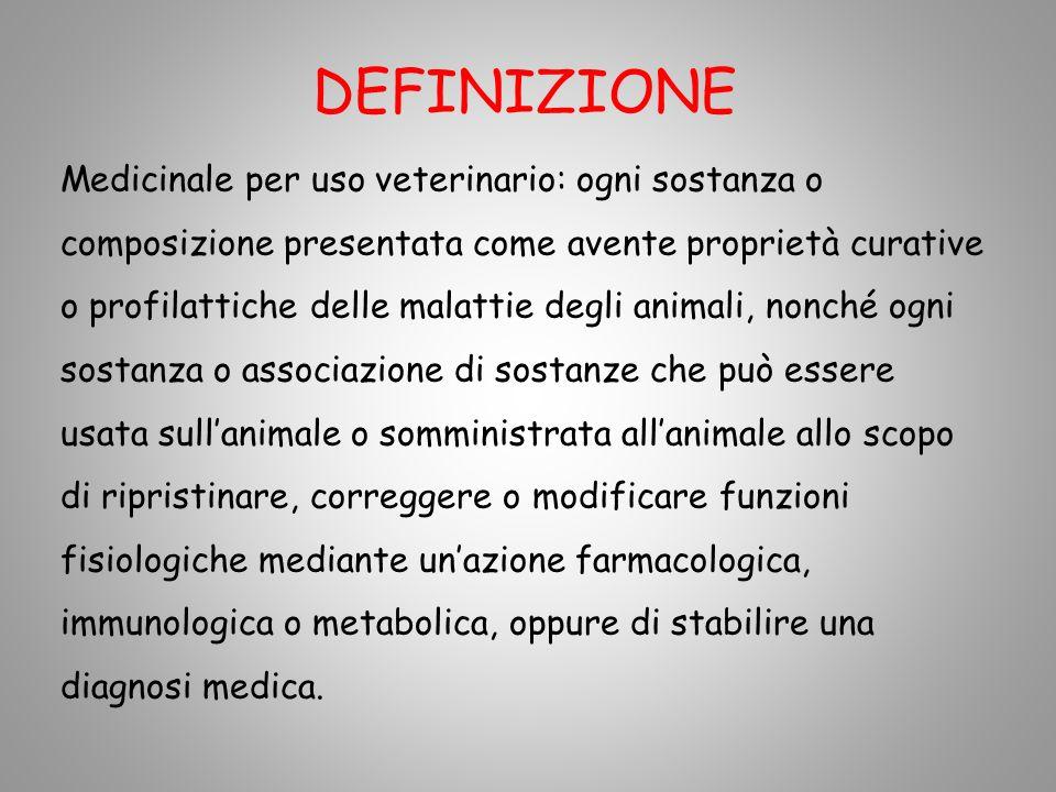 DEFINIZIONE Medicinale per uso veterinario: ogni sostanza o composizione presentata come avente proprietà curative o profilattiche delle malattie degl