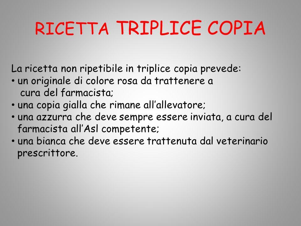 RICETTA TRIPLICE COPIA La ricetta non ripetibile in triplice copia prevede: un originale di colore rosa da trattenere a cura del farmacista; una copia