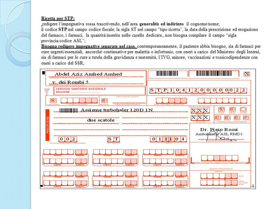 Ricetta per STP: redigere limpegnativa rossa trascrivendo, nellarea generalità ed indirizzo il cognome/nome; il codice STP nel campo codice fiscale; l