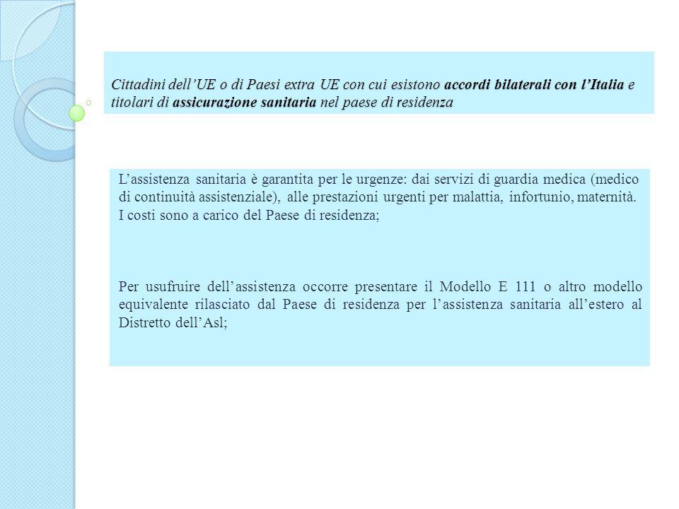Cittadini dellUE o di Paesi extra UE con cui esistono accordi bilaterali con lItalia e titolari di assicurazione sanitaria nel paese di r esidenza Las