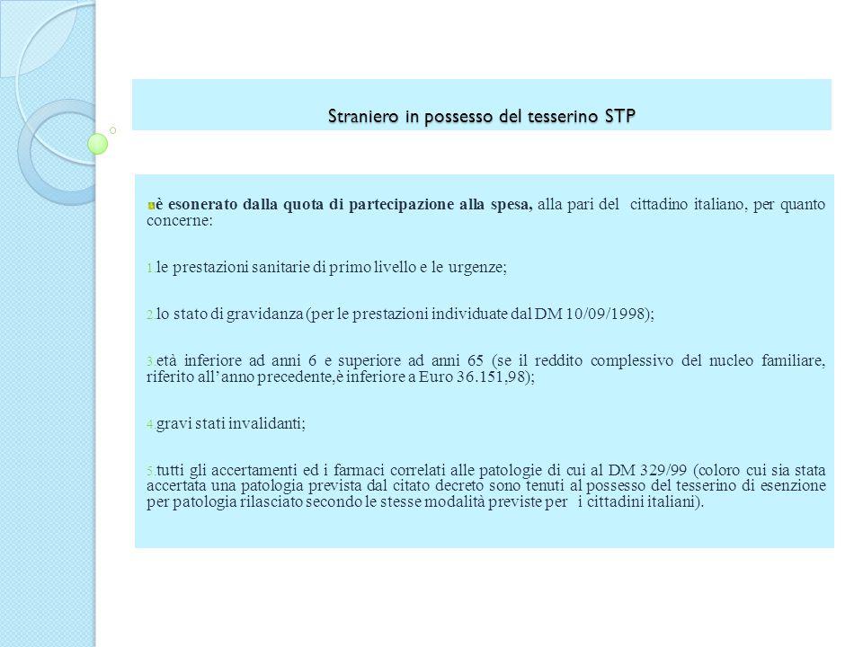 Straniero in possesso del tesserino STP è esonerato dalla quota di partecipazione alla spesa, alla pari del cittadino italiano, per quanto concerne: 1