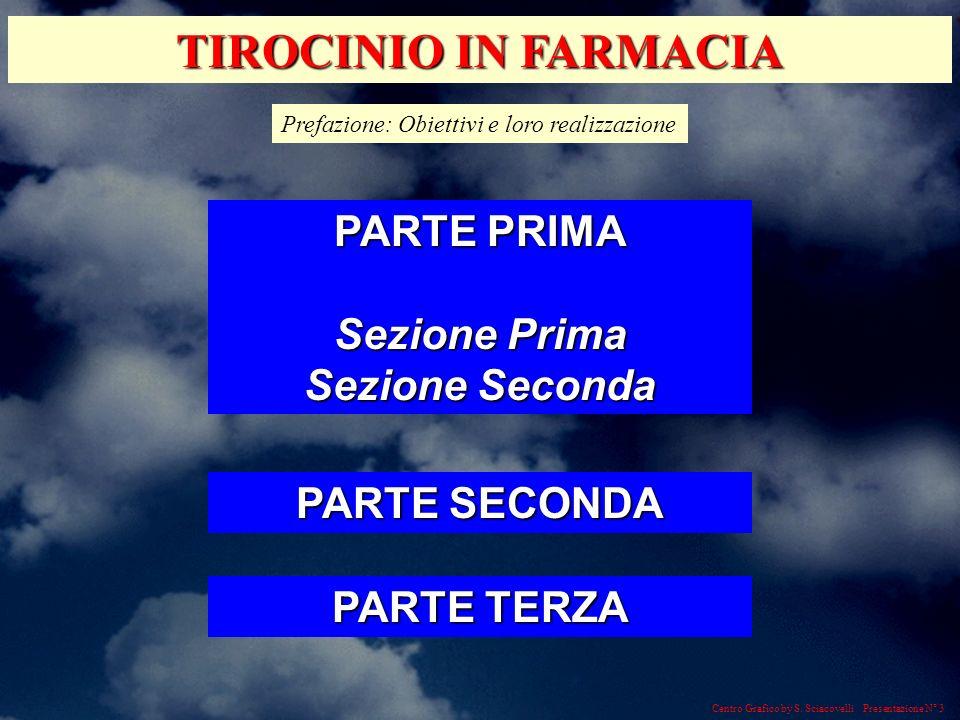 Centro Grafico by S. Sciacovelli Presentazione N° 3 TIROCINIO IN FARMACIA Prefazione: Obiettivi e loro realizzazione PARTE PRIMA Sezione Prima Sezione