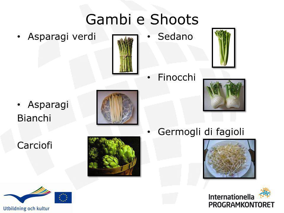 Gambi e Shoots Asparagi verdi Asparagi Bianchi Carciofi Sedano Finocchi Germogli di fagioli