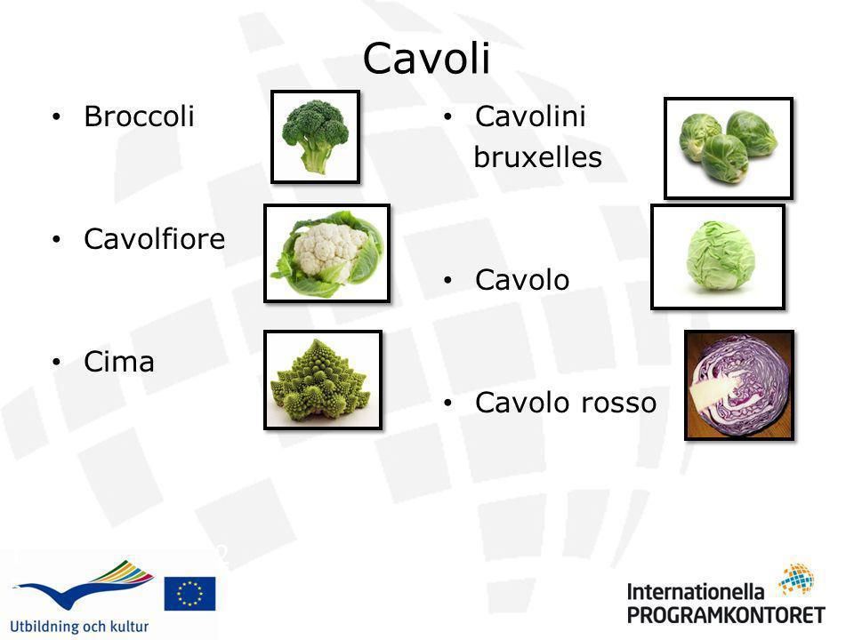 Cavoli Broccoli Cavolfiore Cima Cavolini bruxelles Cavolo Cavolo rosso 1 2 3 4 5