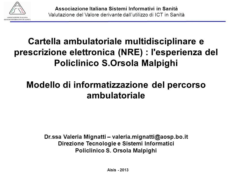 Aisis - 2013 Associazione Italiana Sistemi Informativi in Sanità Valutazione del Valore derivante dallutilizzo di ICT in Sanità Nel 2011 è stato analizzato il processo di prenotazione,accettazione,erogazione e validazione delle prestazioni al momento esistente presso lAzienda Ospedaliera S.Orsola Malpighi.