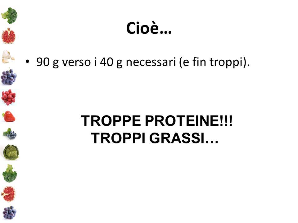 Cioè… 90 g verso i 40 g necessari (e fin troppi). TROPPE PROTEINE!!! TROPPI GRASSI…