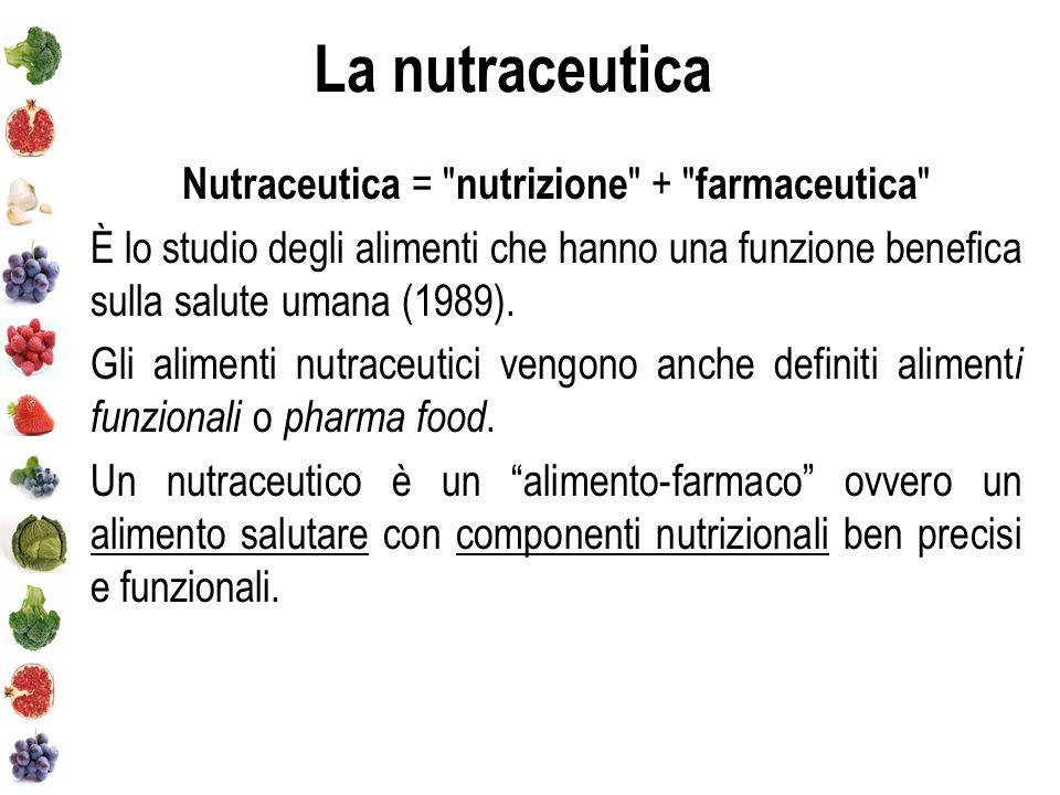 La nutraceutica Nutraceutica = nutrizione + farmaceutica È lo studio degli alimenti che hanno una funzione benefica sulla salute umana (1989).