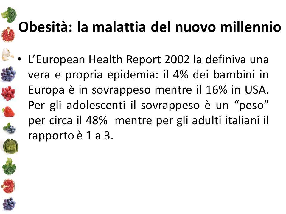 Obesità: la malattia del nuovo millennio LEuropean Health Report 2002 la definiva una vera e propria epidemia: il 4% dei bambini in Europa è in sovrappeso mentre il 16% in USA.