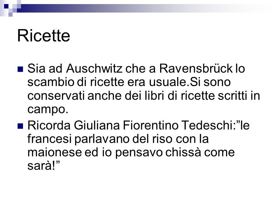 Ricette Sia ad Auschwitz che a Ravensbrück lo scambio di ricette era usuale.Si sono conservati anche dei libri di ricette scritti in campo. Ricorda Gi