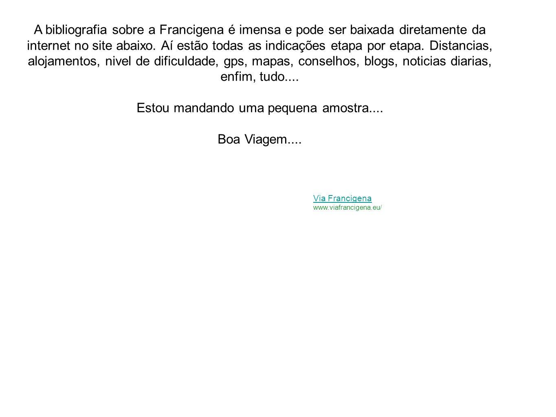 A bibliografia sobre a Francigena é imensa e pode ser baixada diretamente da internet no site abaixo. Aí estão todas as indicações etapa por etapa. Di
