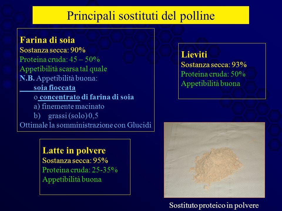 Principali sostituti del polline Farina di soia Sostanza secca: 90% Proteina cruda: 45 – 50% Appetibilità scarsa tal quale N.B. Appetibilità buona: so