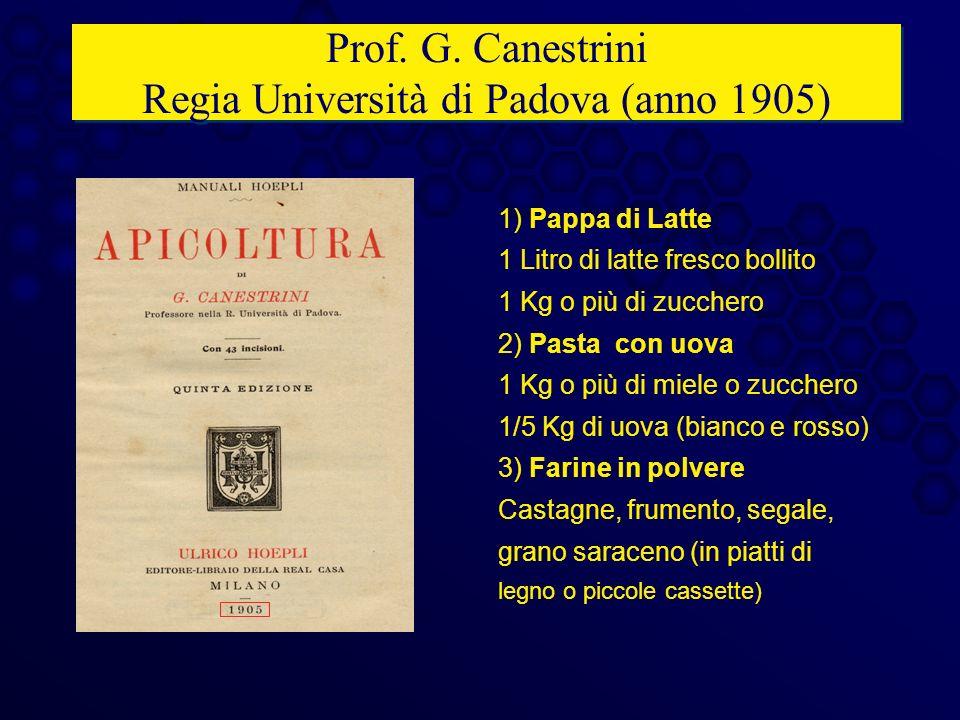 Prof. G. Canestrini Regia Università di Padova (anno 1905) 1) Pappa di Latte 1 Litro di latte fresco bollito 1 Kg o più di zucchero 2) Pasta con uova