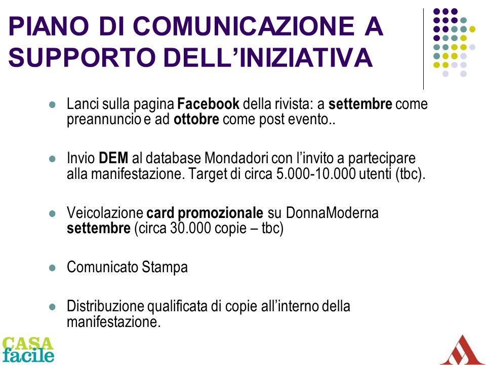 PIANO DI COMUNICAZIONE A SUPPORTO DELLINIZIATIVA Lanci sulla pagina Facebook della rivista: a settembre come preannuncio e ad ottobre come post evento..