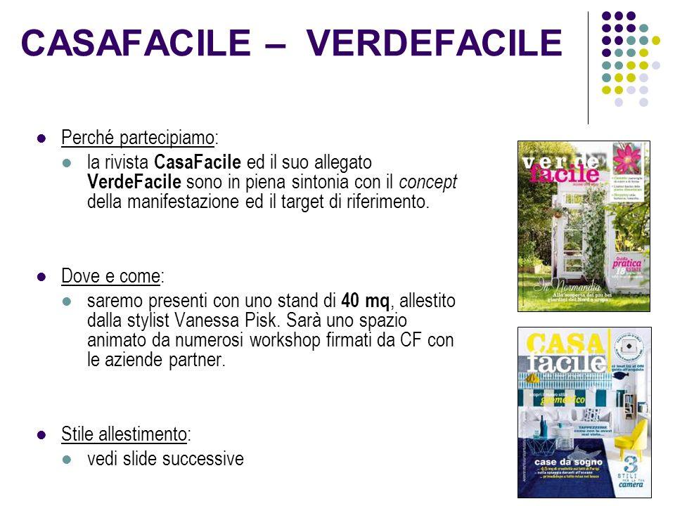 CASAFACILE – VERDEFACILE Perché partecipiamo: la rivista CasaFacile ed il suo allegato VerdeFacile sono in piena sintonia con il concept della manifestazione ed il target di riferimento.