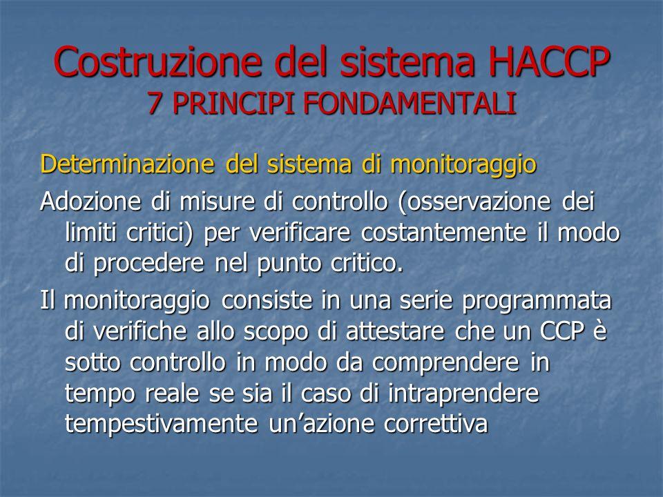 Costruzione del sistema HACCP 7 PRINCIPI FONDAMENTALI Determinazione del sistema di monitoraggio Adozione di misure di controllo (osservazione dei lim