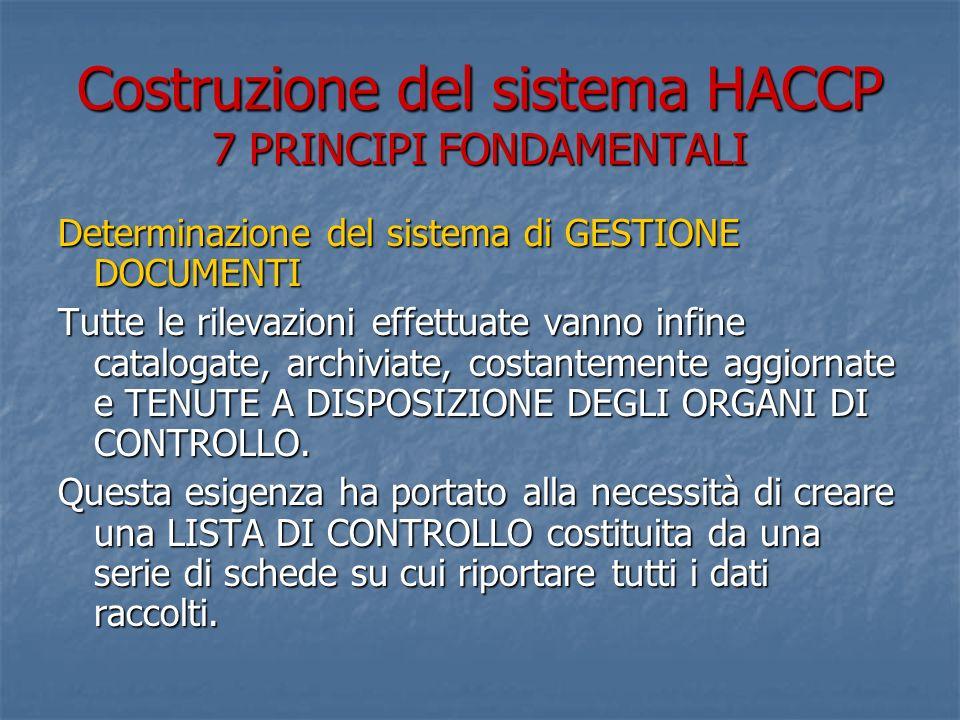 Costruzione del sistema HACCP 7 PRINCIPI FONDAMENTALI Determinazione del sistema di GESTIONE DOCUMENTI Tutte le rilevazioni effettuate vanno infine catalogate, archiviate, costantemente aggiornate e TENUTE A DISPOSIZIONE DEGLI ORGANI DI CONTROLLO.