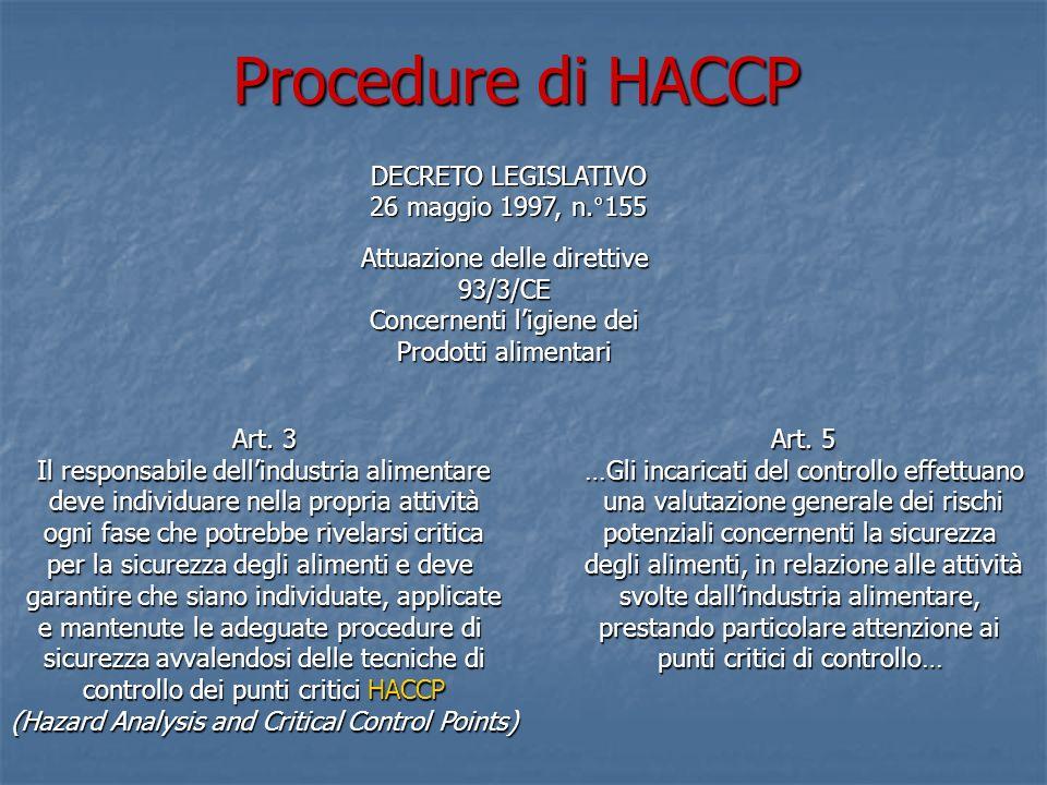 Procedure di HACCP DECRETO LEGISLATIVO 26 maggio 1997, n.°155 Attuazione delle direttive 93/3/CE Concernenti ligiene dei Prodotti alimentari Art. 3 Il