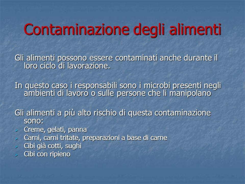 Contaminazione degli alimenti Gli alimenti possono essere contaminati anche durante il loro ciclo di lavorazione. In questo caso i responsabili sono i