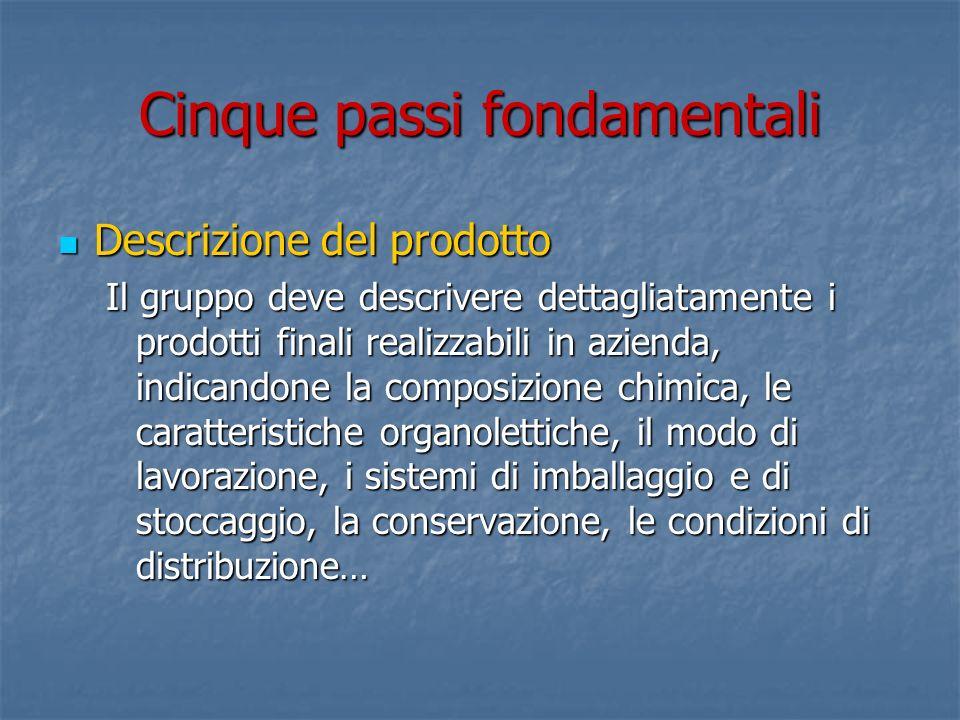 Cinque passi fondamentali Descrizione del prodotto Descrizione del prodotto Il gruppo deve descrivere dettagliatamente i prodotti finali realizzabili