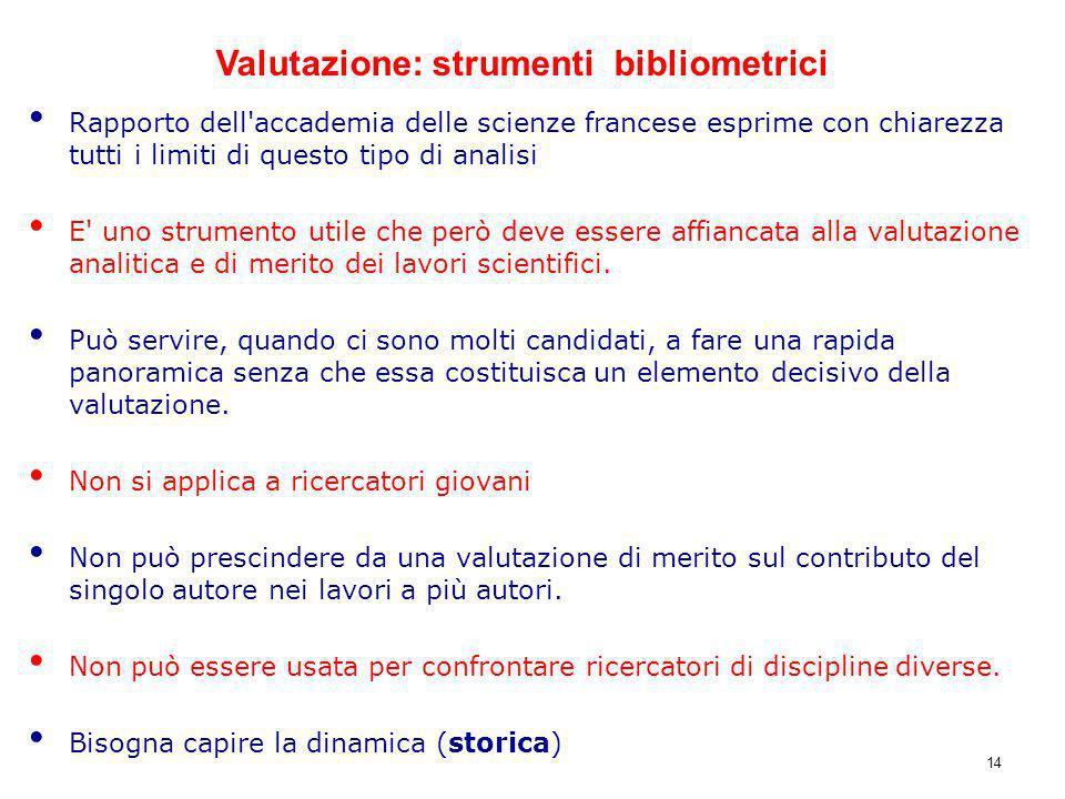 Rapporto dell'accademia delle scienze francese esprime con chiarezza tutti i limiti di questo tipo di analisi E' uno strumento utile che però deve ess