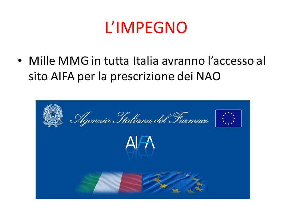 LIMPEGNO Mille MMG in tutta Italia avranno laccesso al sito AIFA per la prescrizione dei NAO
