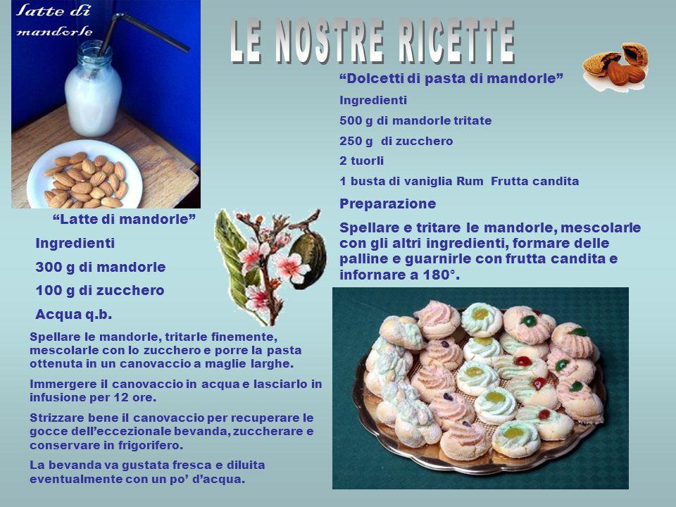 Latte di mandorle Ingredienti 300 g di mandorle 100 g di zucchero Acqua q.b. Spellare le mandorle, tritarle finemente, mescolarle con lo zucchero e po