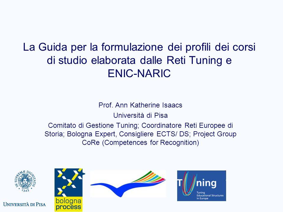 La Guida per la formulazione dei profili dei corsi di studio elaborata dalle Reti Tuning e ENIC-NARIC Prof. Ann Katherine Isaacs Università di Pisa Co