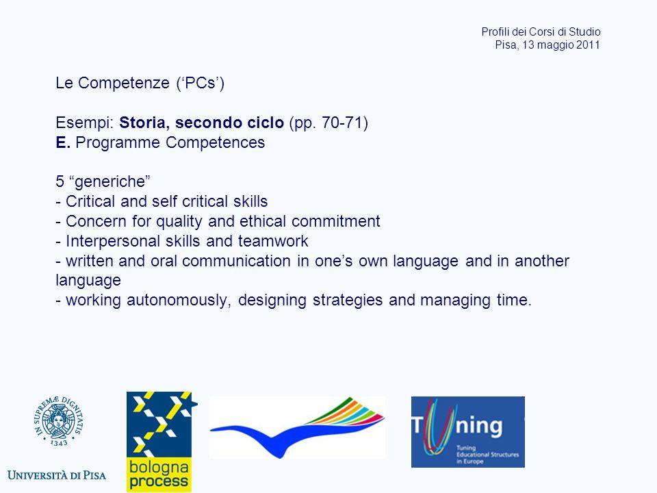 Le Competenze (PCs) Esempi: Storia, secondo ciclo (pp. 70-71) E. Programme Competences 5 generiche - Critical and self critical skills - Concern for q