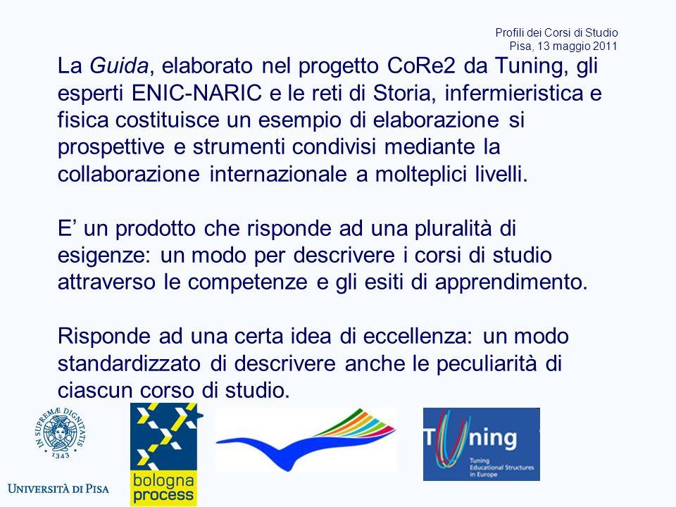La Guida, elaborato nel progetto CoRe2 da Tuning, gli esperti ENIC-NARIC e le reti di Storia, infermieristica e fisica costituisce un esempio di elaborazione si prospettive e strumenti condivisi mediante la collaborazione internazionale a molteplici livelli.