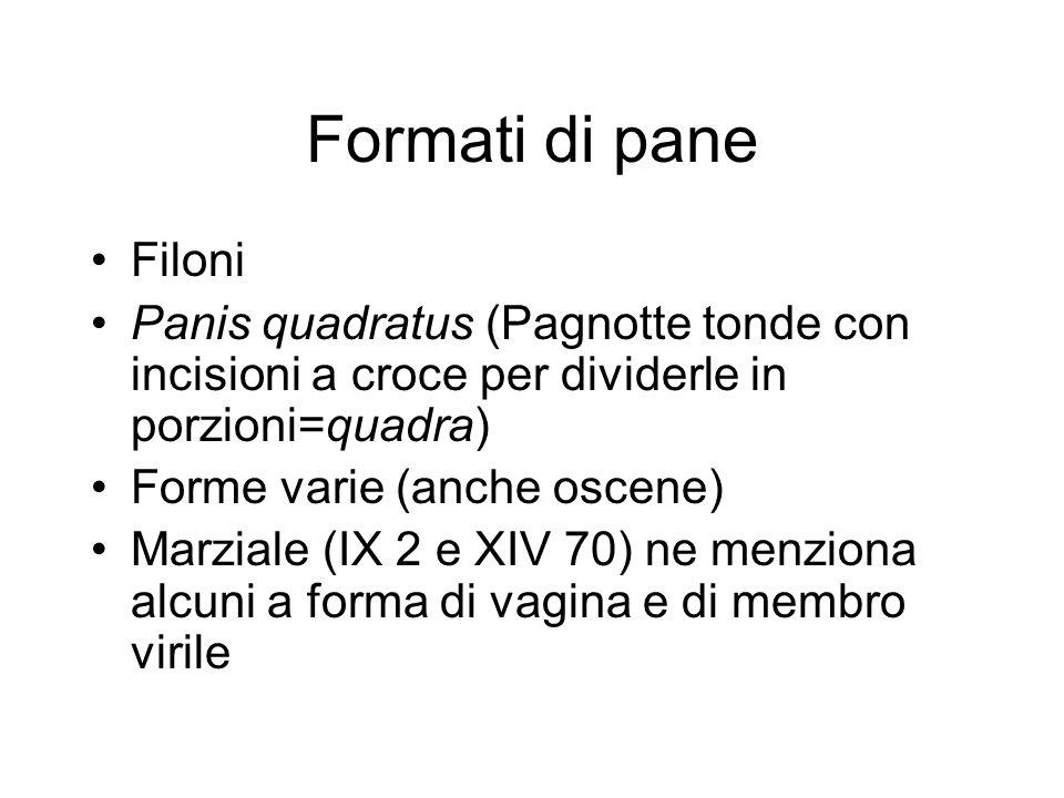 Formati di pane Filoni Panis quadratus (Pagnotte tonde con incisioni a croce per dividerle in porzioni=quadra) Forme varie (anche oscene) Marziale (IX