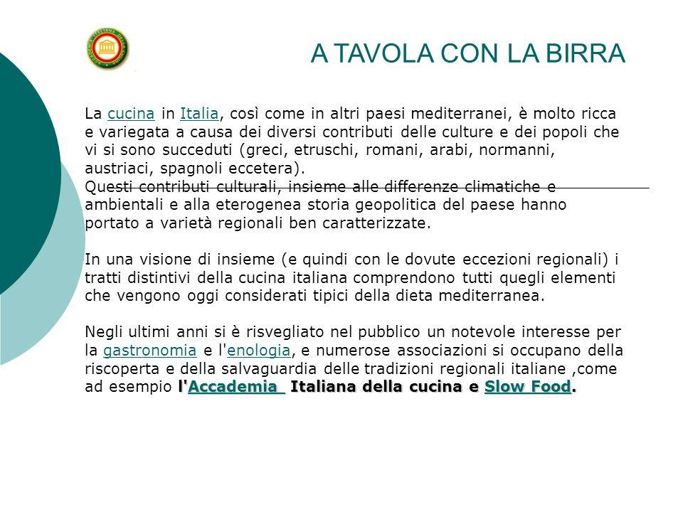 La cucina in Italia, così come in altri paesi mediterranei, è molto ricca e variegata a causa dei diversi contributi delle culture e dei popoli che vi