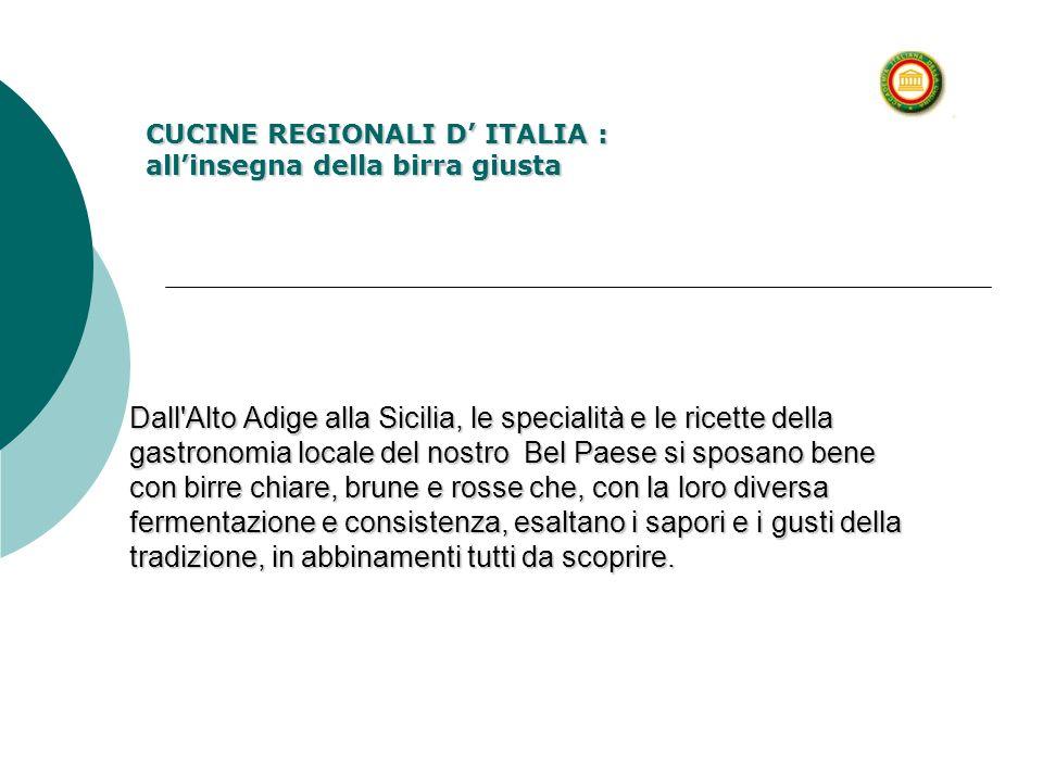 Dall'Alto Adige alla Sicilia, le specialità e le ricette della gastronomia locale del nostro Bel Paese si sposano bene con birre chiare, brune e rosse
