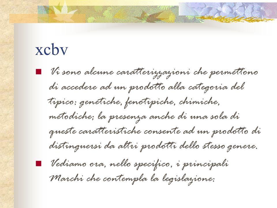 xcbv Vi sono alcune caratterizzazioni che permettono di accedere ad un prodotto alla categoria del tipico: genetiche, fenotipiche, chimiche, metodiche
