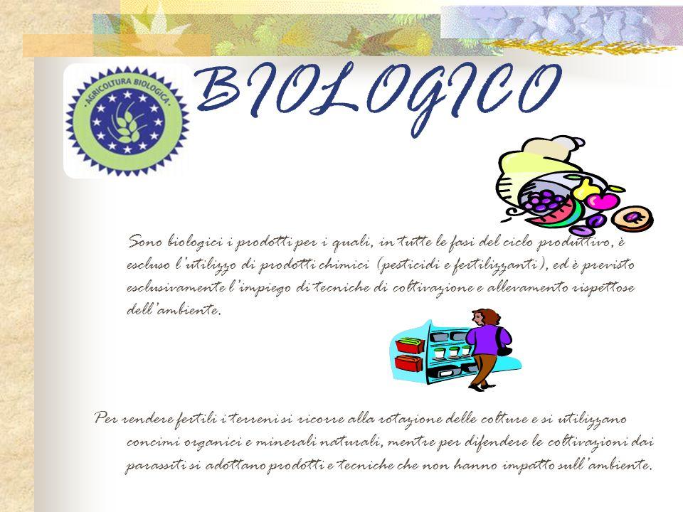 BIOLOGICO Sono biologici i prodotti per i quali, in tutte le fasi del ciclo produttivo, è escluso lutilizzo di prodotti chimici (pesticidi e fertilizz