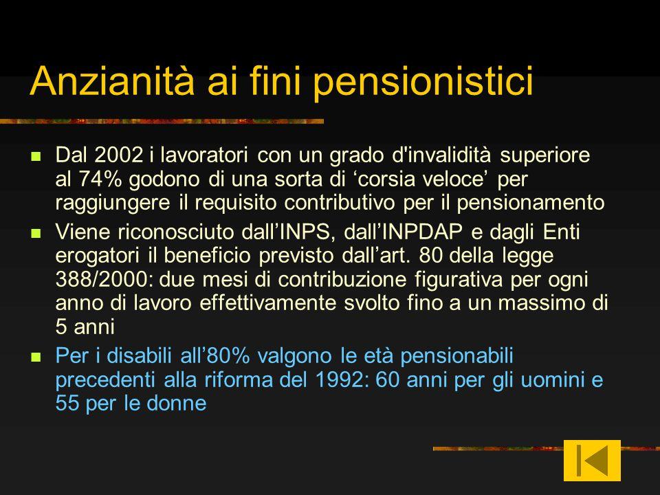 Anzianità ai fini pensionistici Dal 2002 i lavoratori con un grado d'invalidità superiore al 74% godono di una sorta di corsia veloce per raggiungere