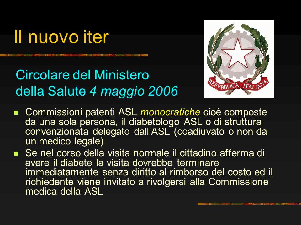 Il nuovo iter Commissioni patenti ASL monocratiche cioè composte da una sola persona, il diabetologo ASL o di struttura convenzionata delegato dallASL