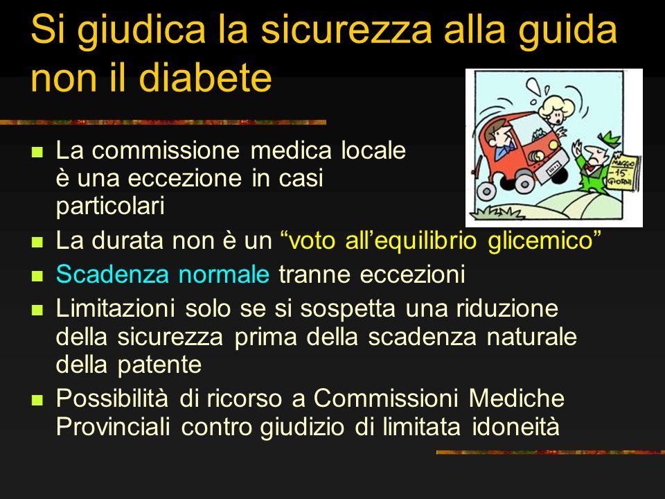 Si giudica la sicurezza alla guida non il diabete La commissione medica locale è una eccezione in casi particolari La durata non è un voto allequilibr